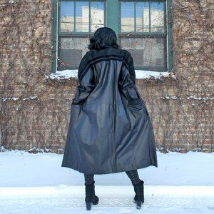 Vintage Leather Trench Coat 80s Medium M